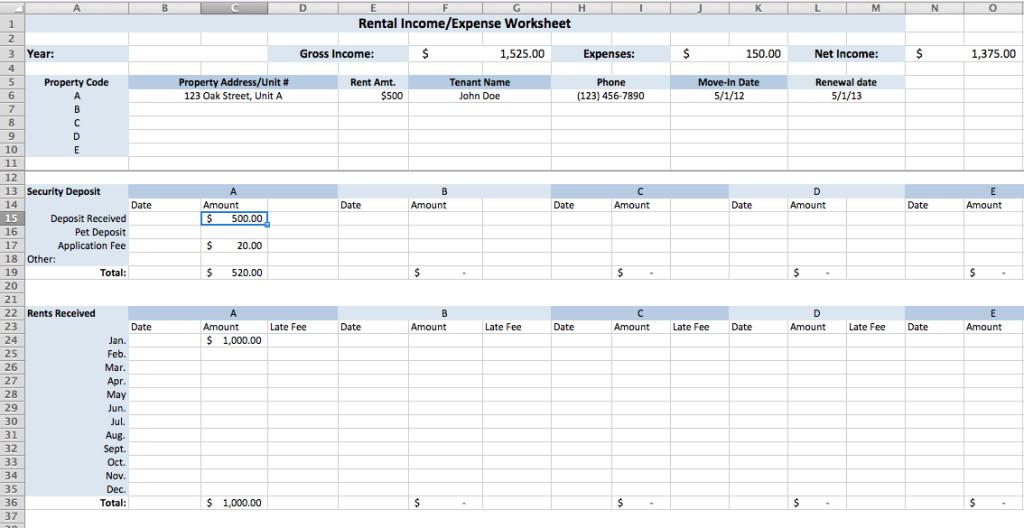Rental Income Spreadsheet Template Rental Expense Worksheet Finances Pinterest