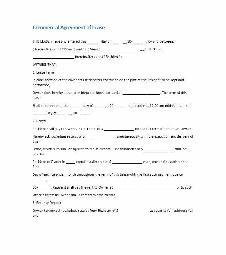 Rental Lease Agreement Template 26 Free Mercial Lease Agreement Templates Template Lab