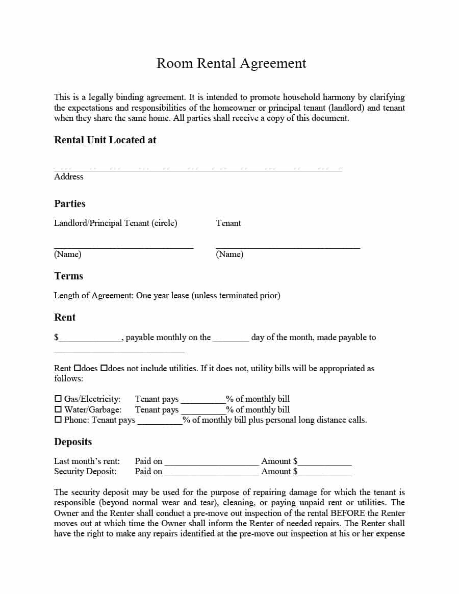 Rental Lease Agreement Template 39 Simple Room Rental Agreement Templates Template Archive