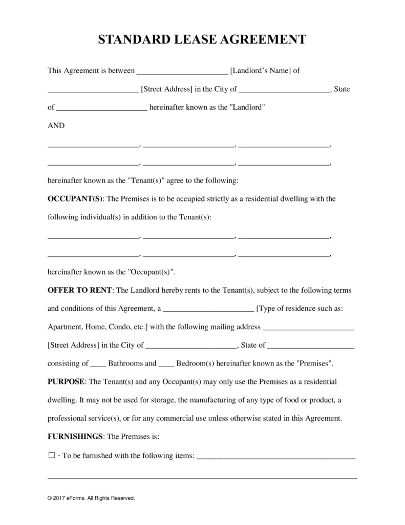 Rental Lease Agreement Template Free Rental Lease Agreement Templates Residential