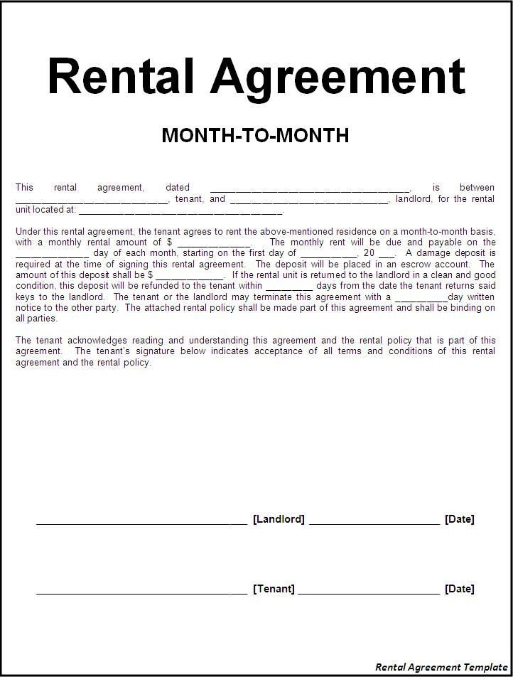 Rental Lease Agreement Template Printable Sample Rental Lease Agreement Templates Free