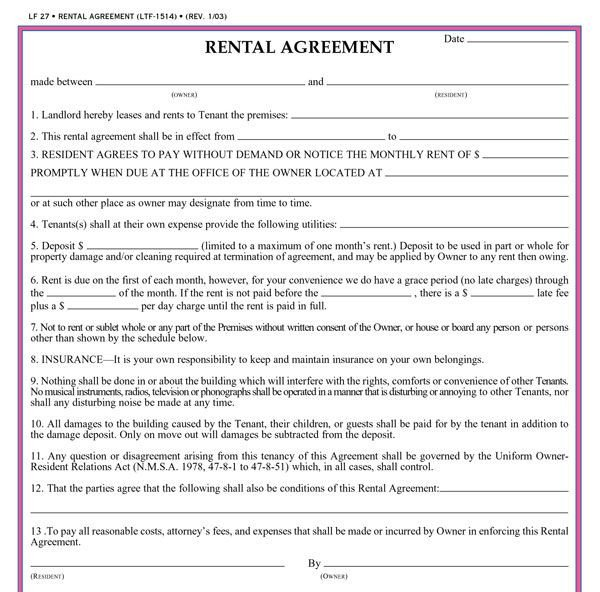 Rental Lease Agreement Template Residential Lease Agreement Template