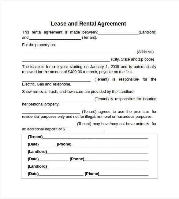 Rental Lease Agreement Template Sample Rental Lease Agreement 9 Free Documents In Pdf Word