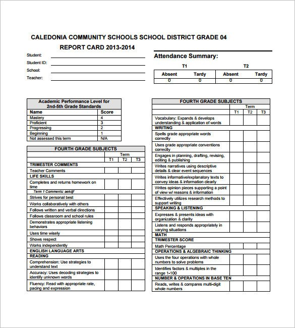 Report Card Template Word 27 Progress Report Card Templates Google Doc Pdf Psd