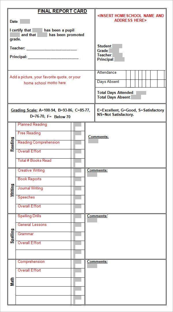Report Card Template Word Sample Report Card Template 11 Download Documents In