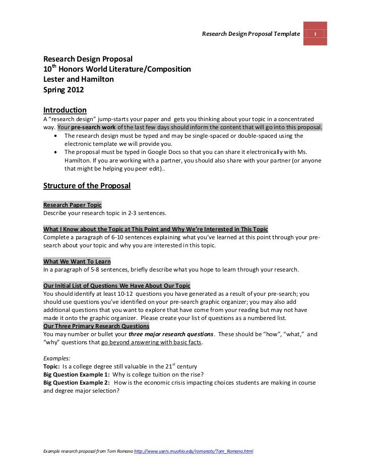 Research Paper Proposal Template Media 21 Spring 2012 Research Design Proposal Guidelines