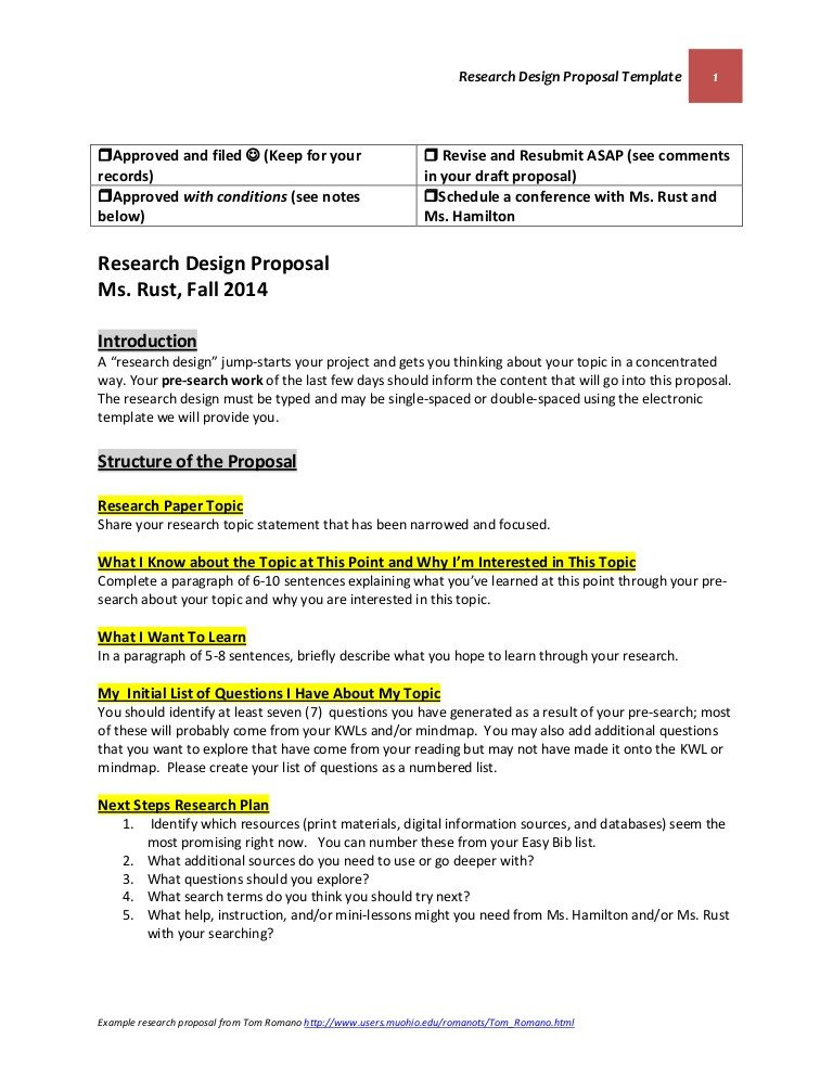 Research Paper Proposal Template Research Design Proposal Template October 22 2014 Final