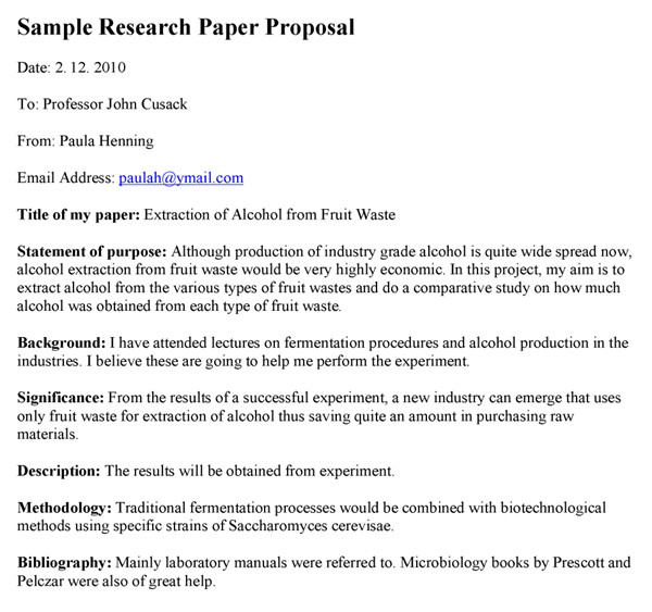 Research Paper Proposal Template Research Paper Proposal Example