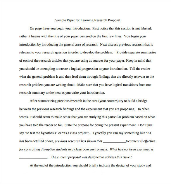 Research Paper Proposal Template Sample Research Paper Proposal Template 13 Free