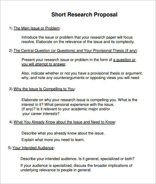 Research Paper Proposal Template Sample Research Proposal Template 10 Free Documents
