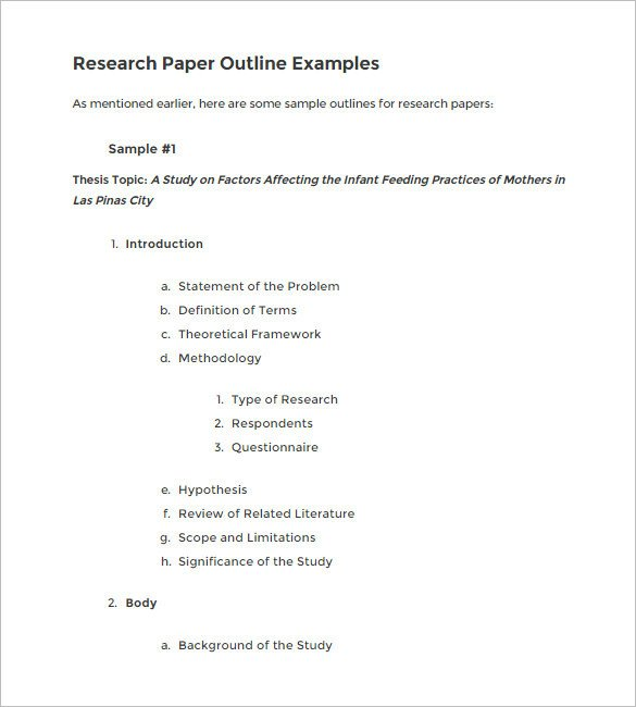 Research Paper Template Word 6 Blank Outline Templates Doc Pdf