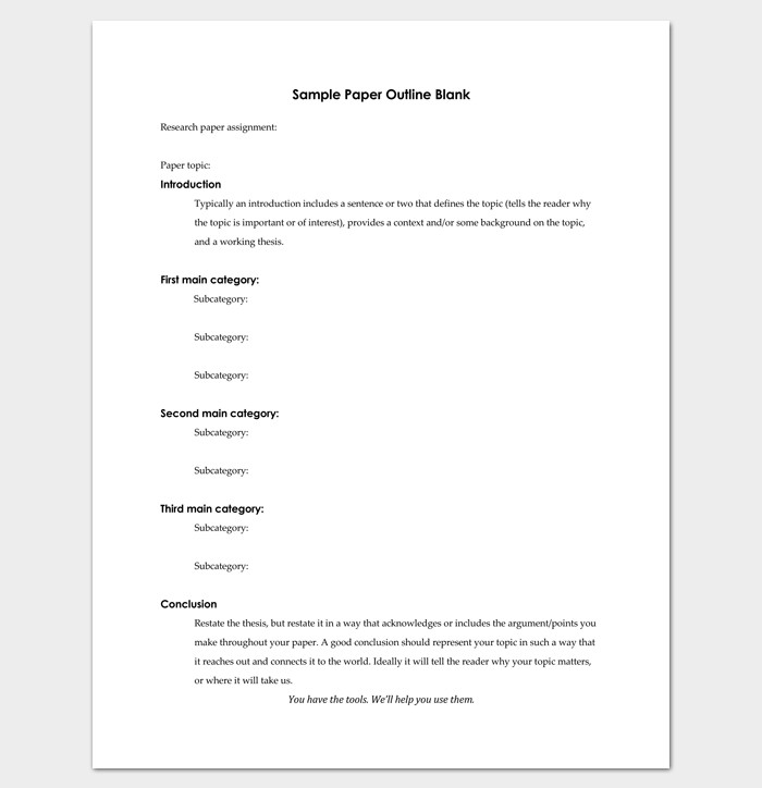 Research Paper Template Word Blank Outline Template 11 Examples and formats for