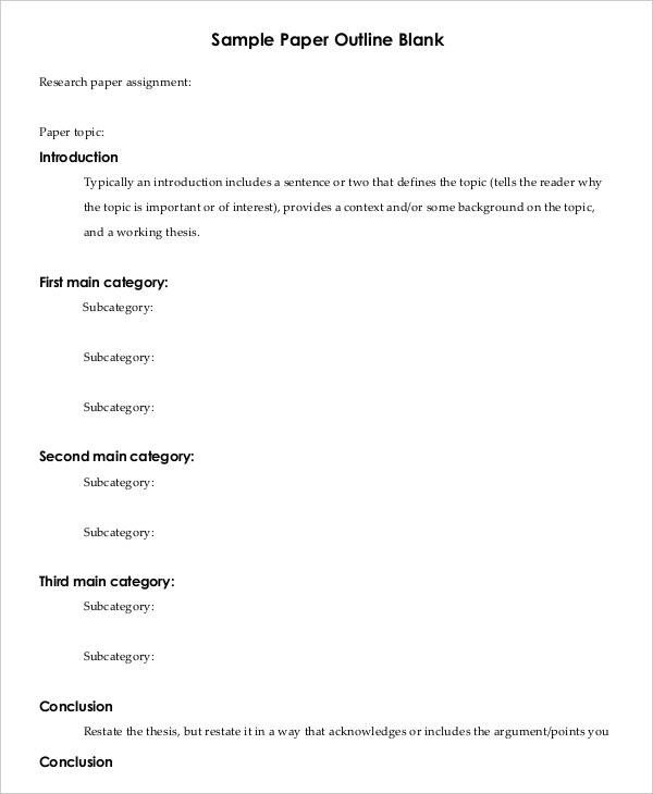 Research Paper Template Word Printable Research Paper Outline Template 8 Free Word