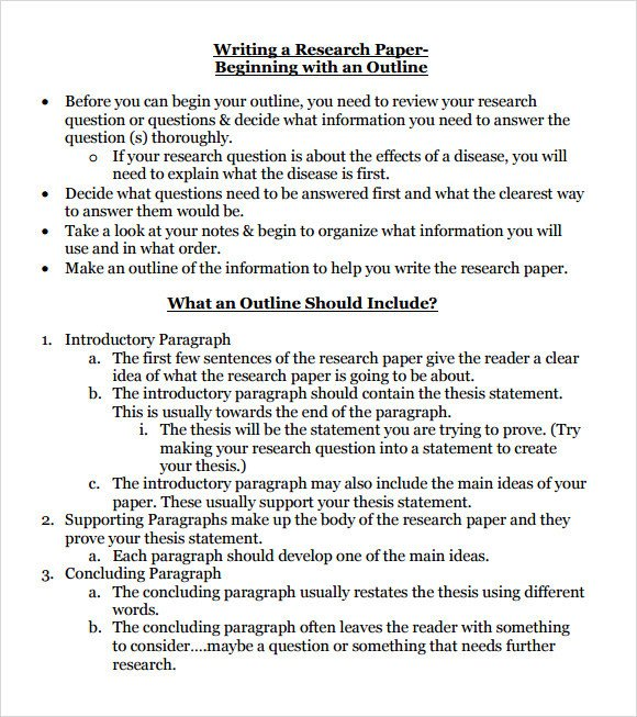 Research Paper Template Word Research Paper Outline Template 9 Download Free