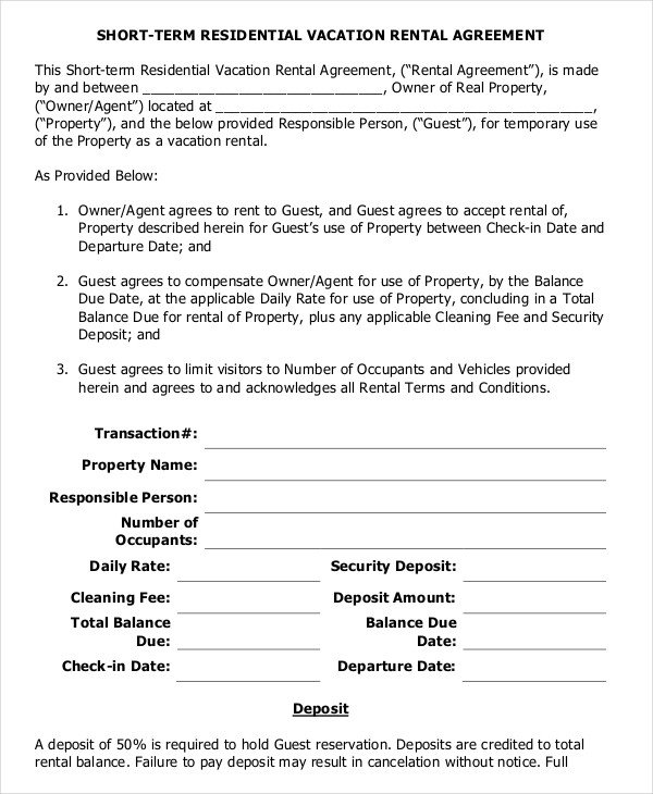 Residential Lease Agreement Template 10 Vacation Rental Agreement – Free Sample Example