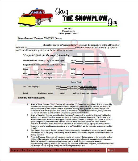 Residential Snow Removal Contract 20 Snow Plowing Contract Templates Google Docs Pdf