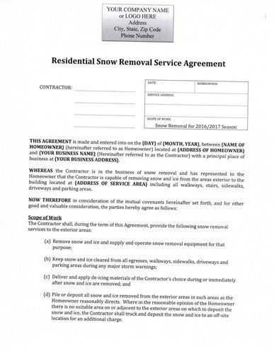 Residential Snow Removal Contract Snow Plow Seasonal Rate Residential Agreement $12 99