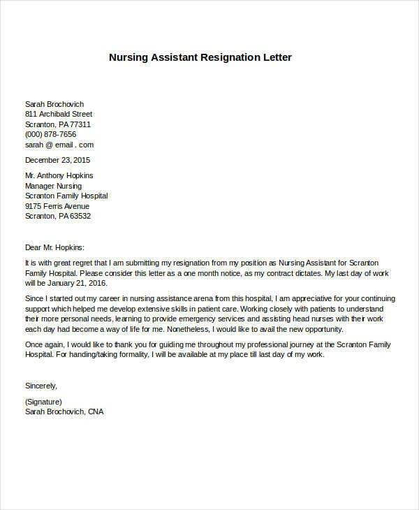 Resignation Letter for Nursing 31 formal Resignation Letters