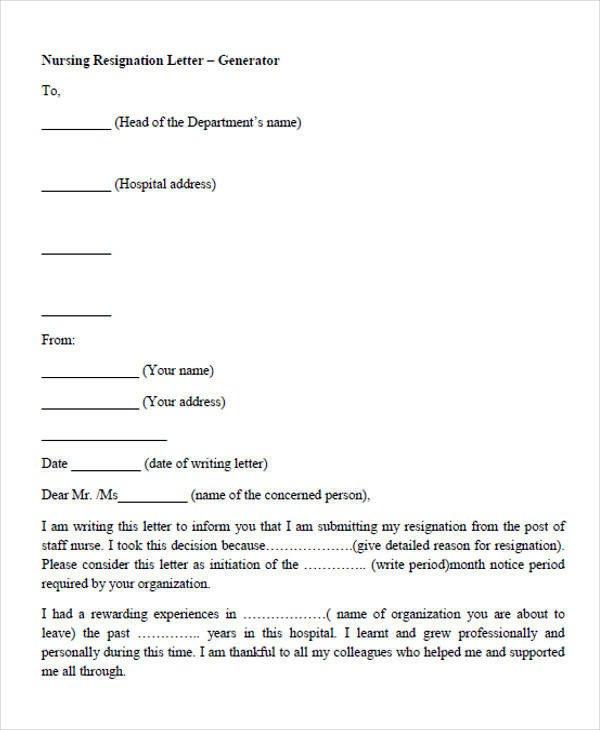 Resignation Letter for Nursing 33 Resignation Letters Samples & Templates In Pdf