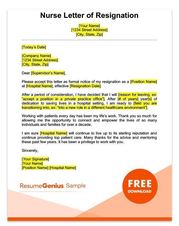Resignation Letter for Nursing Career Specific Resignation Letters