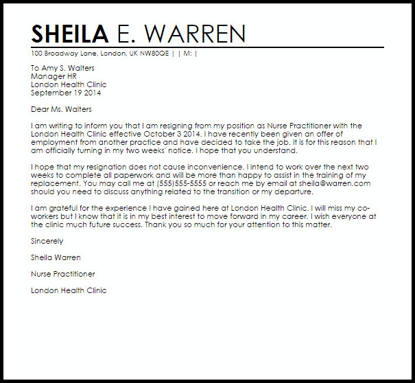 Resignation Letter for Nursing Nurse Practitioner Resignation Letter Example