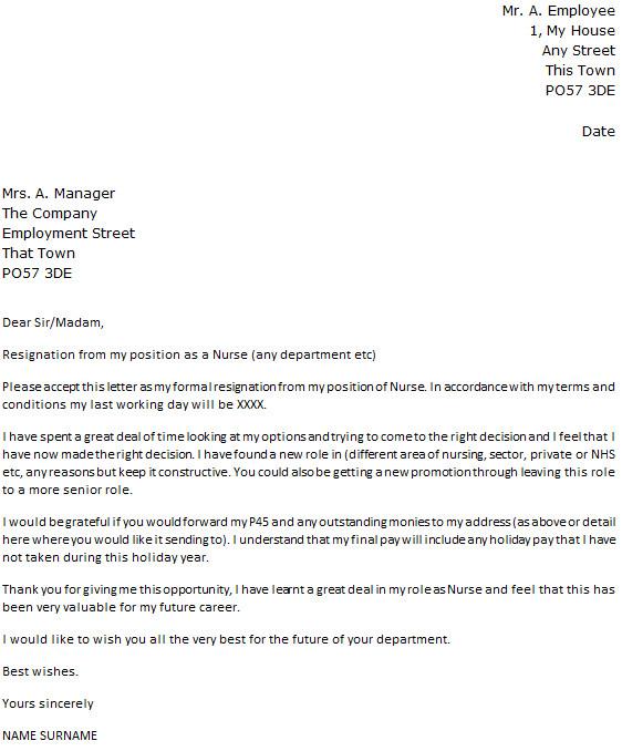Resignation Letter for Nursing Nurse Resignation Letter Example Icover