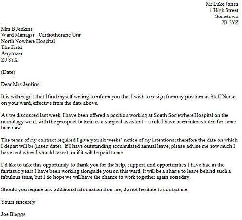 Resignation Letter for Nursing Resignation Letter Example for A Nurse Resignletter