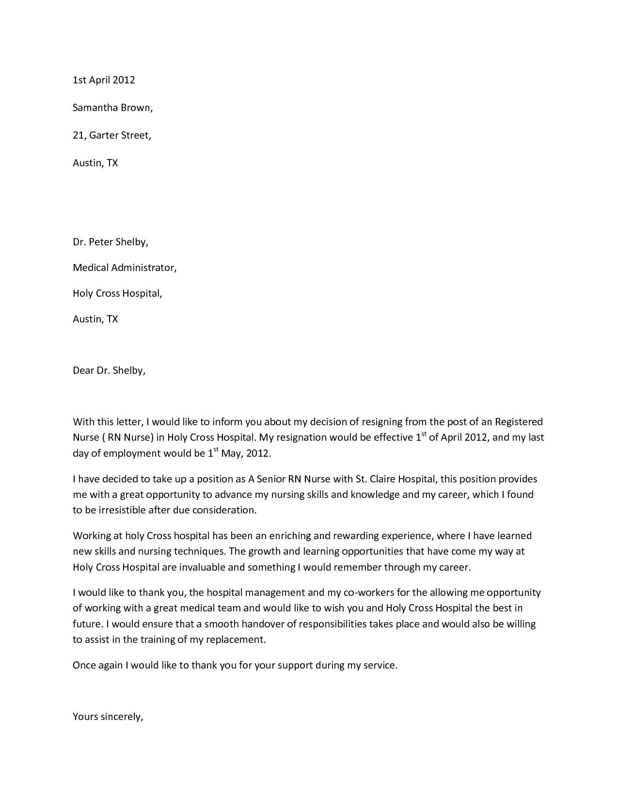 Resignation Letter for Nursing Sample Resignation Letterwriting A Letter Resignation