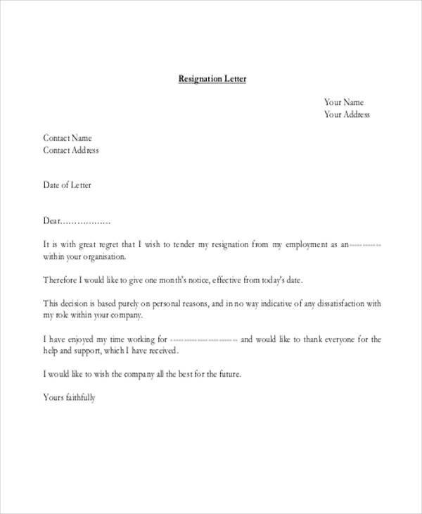 Resignation Letter Personal Reason 40 Resignation Letter Example