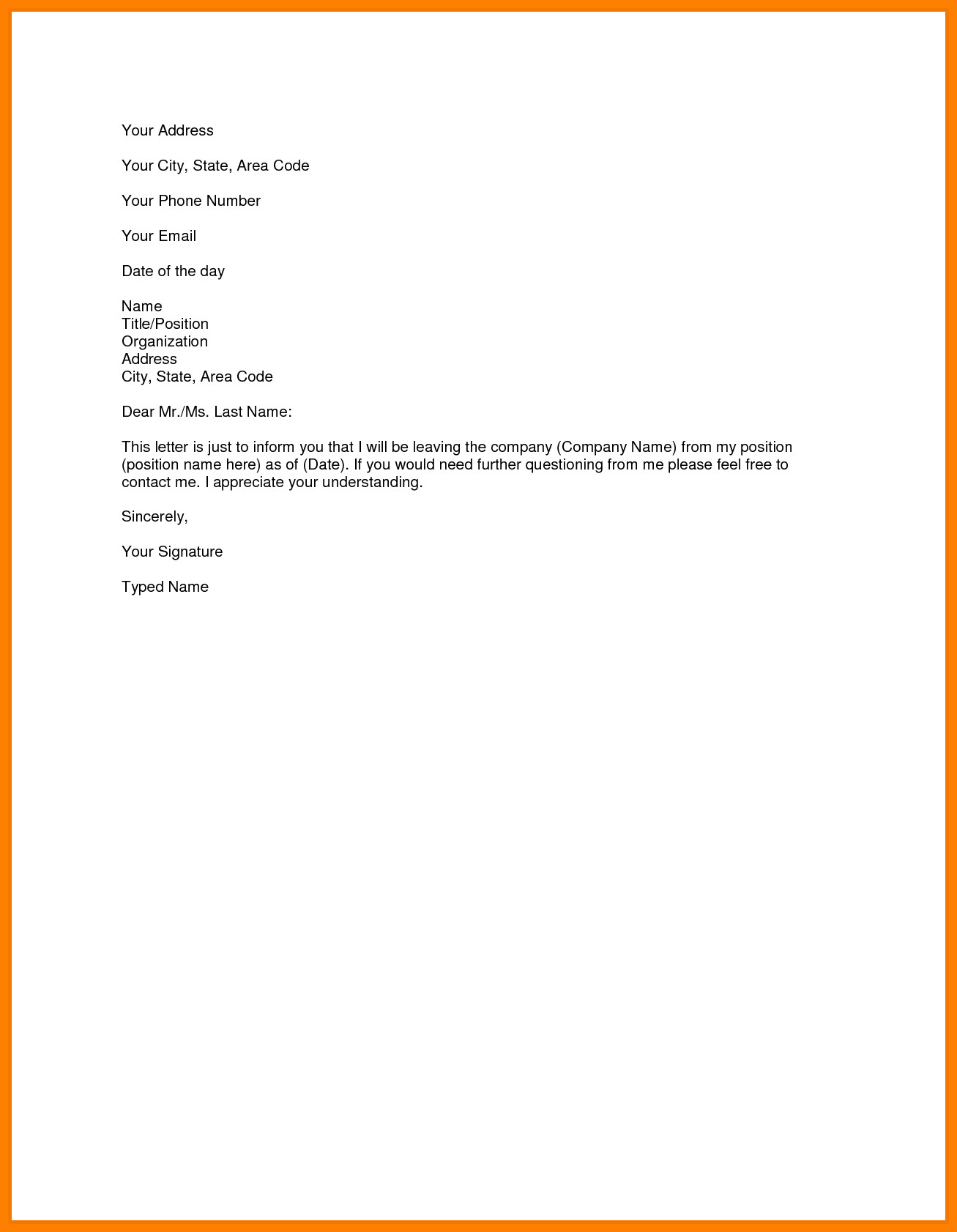 Resignation Letter Personal Reason 6 Simple Resignation Letter Sample for Personal Reasons