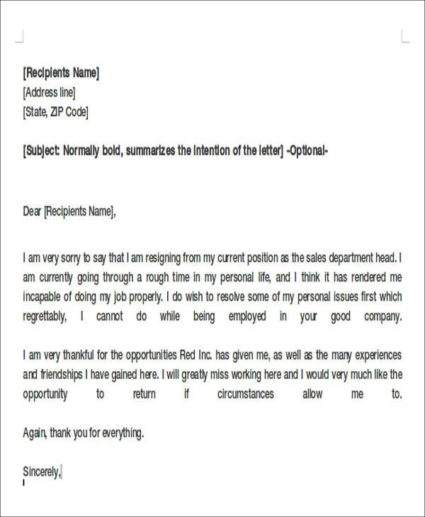 Resignation Letter Personal Reason 8 Sample Resignation Letters for Personal Reasons Doc Pdf