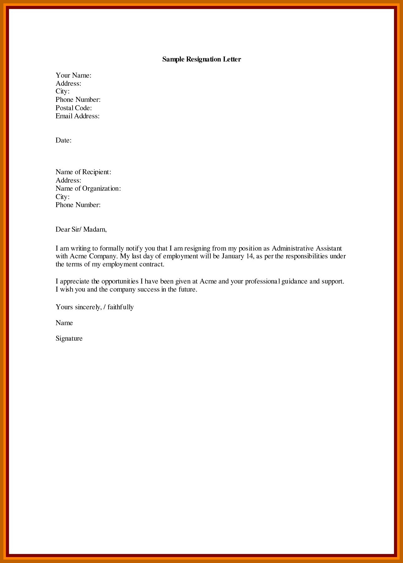 Resignation Letter Personal Reason 9 10 Sample Resignation Letter with Reason