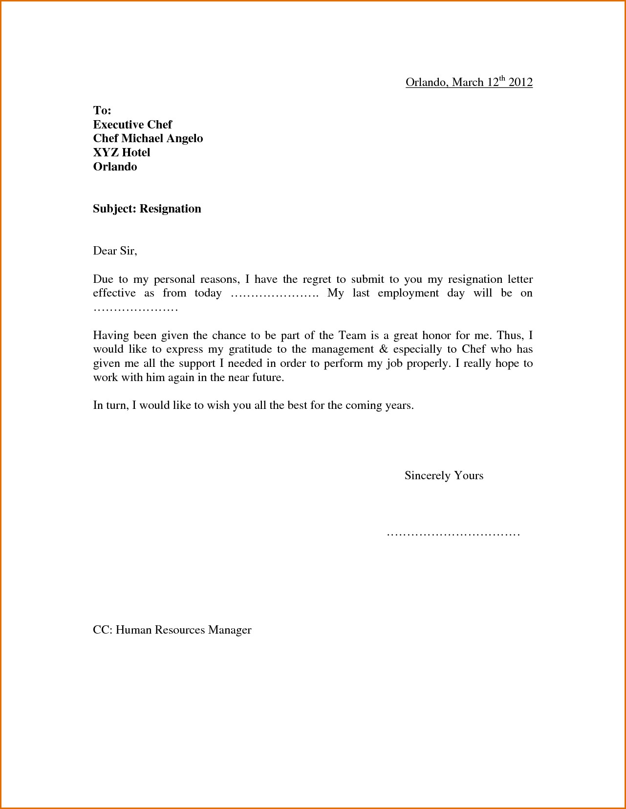 Resignation Letter Personal Reason Pin by Nastajja Roberson On Cda