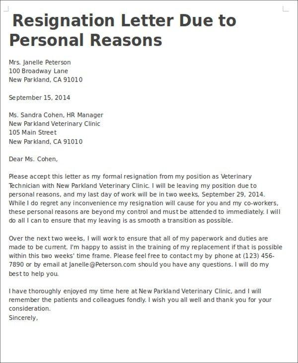 Resignation Letter Personal Reason Resignation Letter Due to Family Reason Resignation Letter