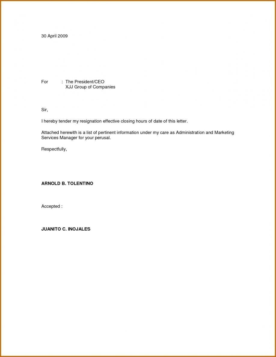 Resignation Letter Personal Reason Simple Resignation Letter for Personal Reason Filename