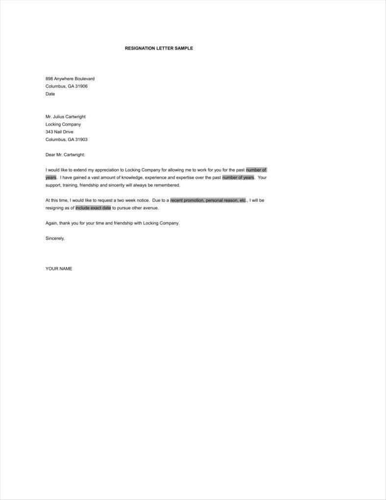 Resignation Letter Personal Reasons 13 Resign Letters for Personal Reasons