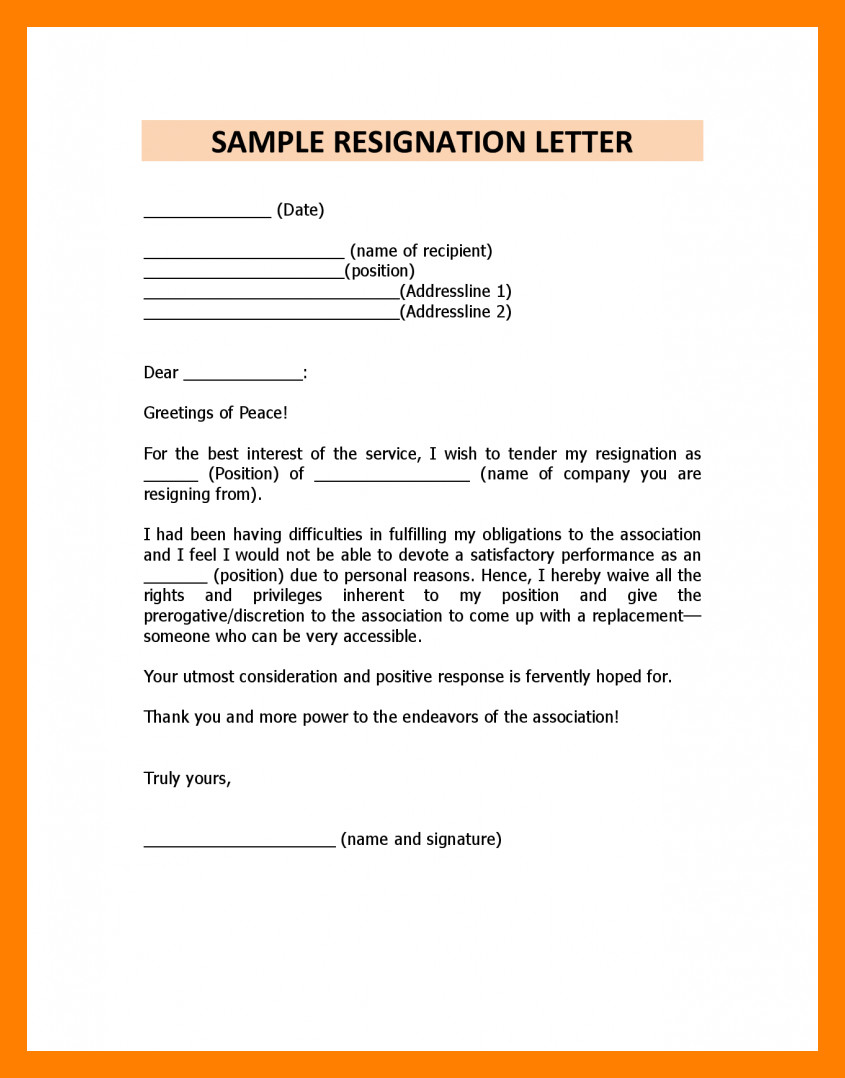 Resignation Letter Personal Reasons 5 Immediate Resignation Letter Due to Personal Reasons