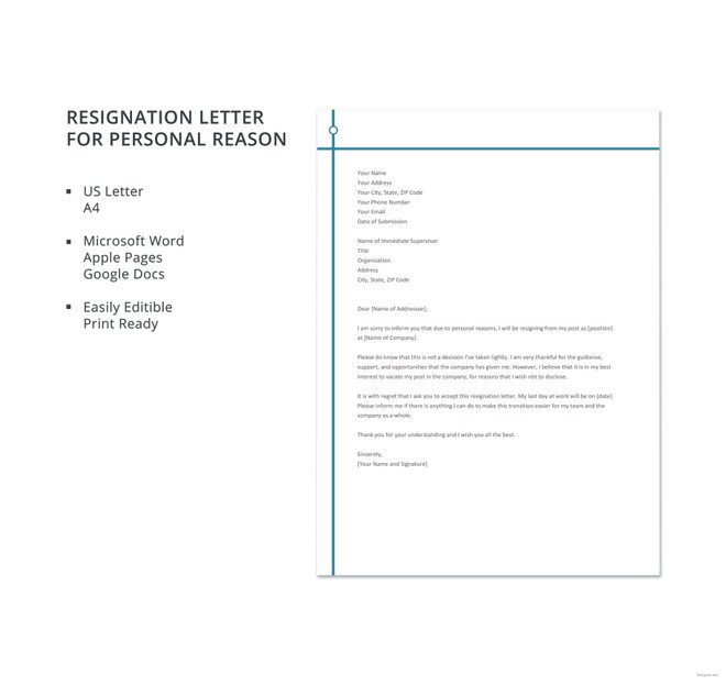 Resignation Letter Personal Reasons Job Resignation Letter for Personal Reasons New 5
