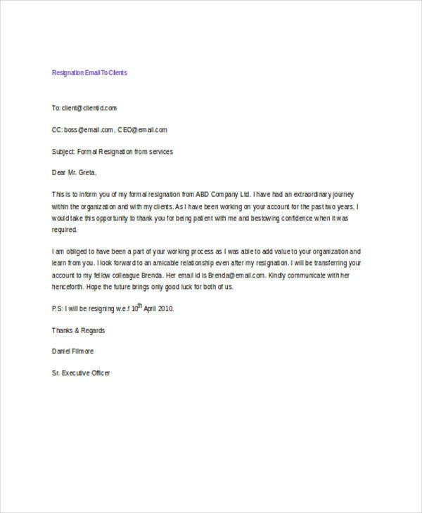 Resignation Letter Subject Line 21 Resignation Email Examples Doc