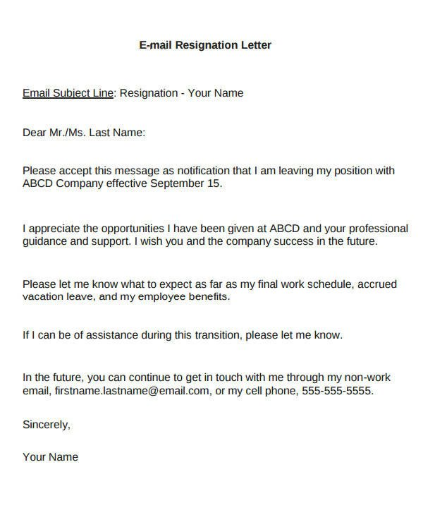 Resignation Letter Subject Line Email Resignation Letter Sample 8 Examples In Word Pdf
