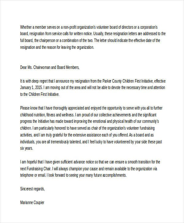 Resignation Letter Volunteer organization 35 Simple Resignation Letter Samples