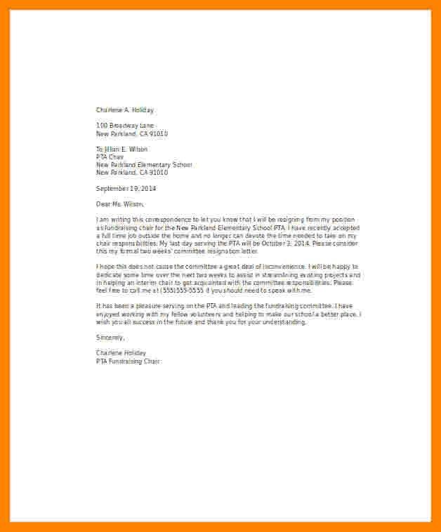 Resignation Letter Volunteer organization 8 Resignation Letter Volunteer organization