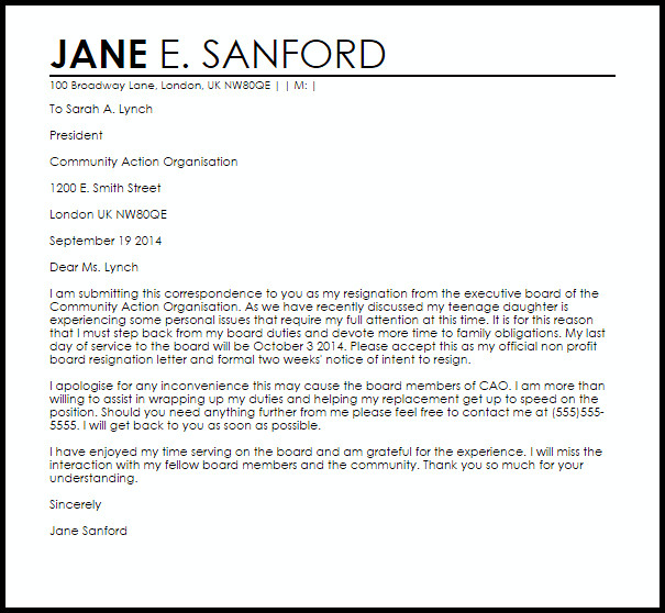 Resignation Letter Volunteer organization Non Profit Board Resignation Letter Example