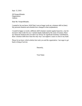 Resignation Letter Volunteer organization Resignation Volunteer Shift