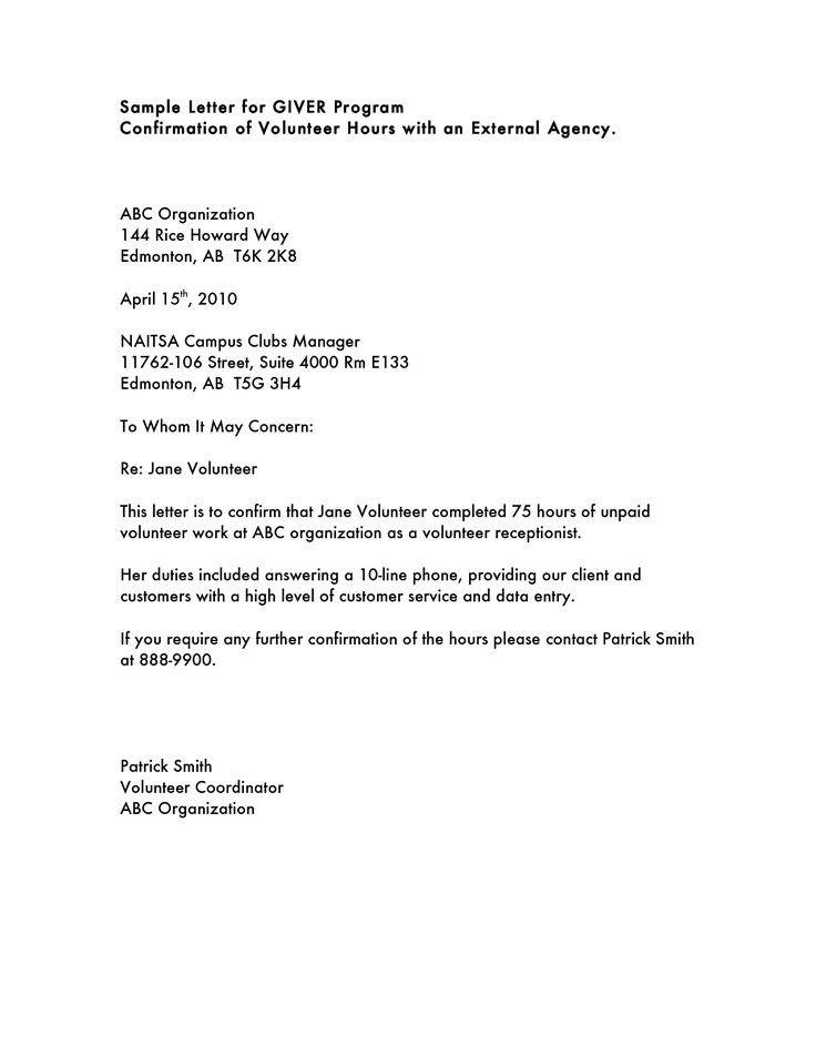 Resignation Letter Volunteer organization Volunteer Hours Letter Templatevolunteer Letter Template