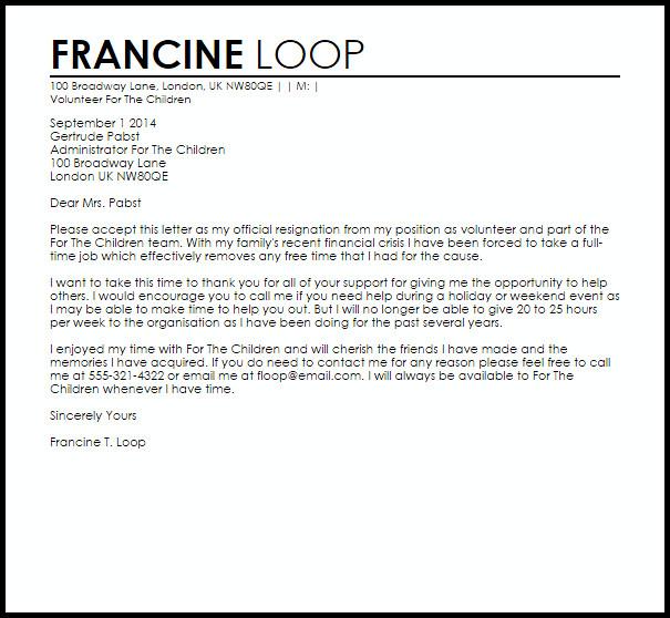 Resignation Letter Volunteer organization Volunteer Resignation Letter Example