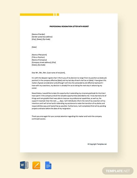 Resignation Letter with Regret 138 Free Resignation Letter Templates [download Ready