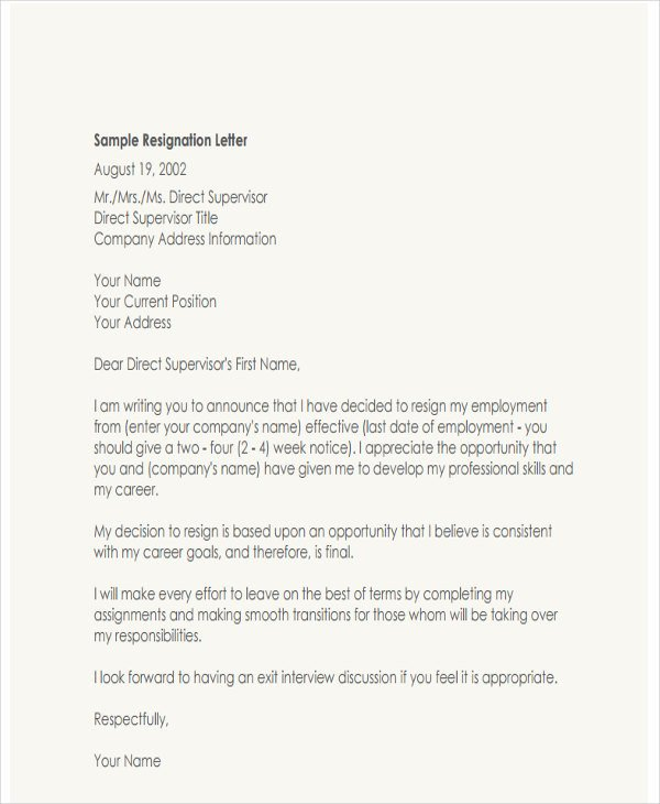 Resignation Letter with Regret 4 Resignation Letter with Regret Template 5 Free Word