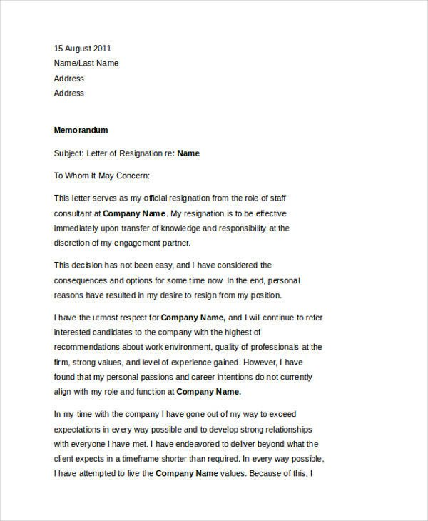 Resignation Letter with Regret 49 Resignation Letter Examples