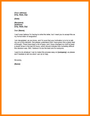 Resignation Letter with Regret 6 Regretful Resignation Letter